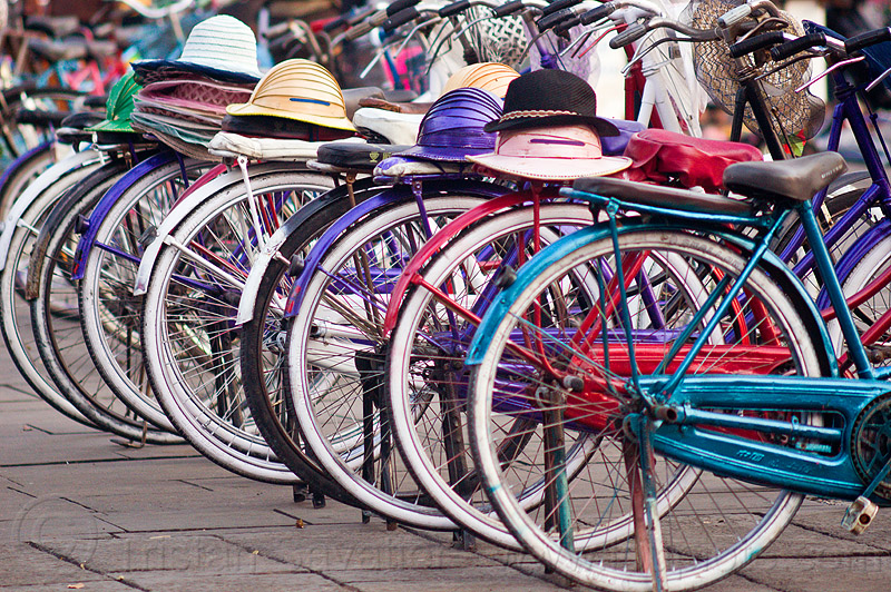 bicycle rental with hats, bicycle rentals, bicycles, bikes, eid, eid ul-fitr, fatahillah square, jakarta, java, people, taman fatahillah