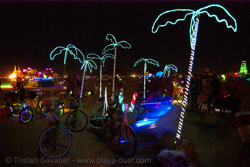 bicycles with EL-wire palm-trees - burning man 2007, art, burning man, el-wire, electroluminescent wire, night, palm trees