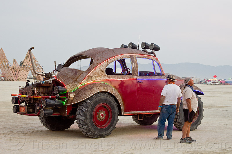 bigred beetle - burning man 2013, art car, burning man, men