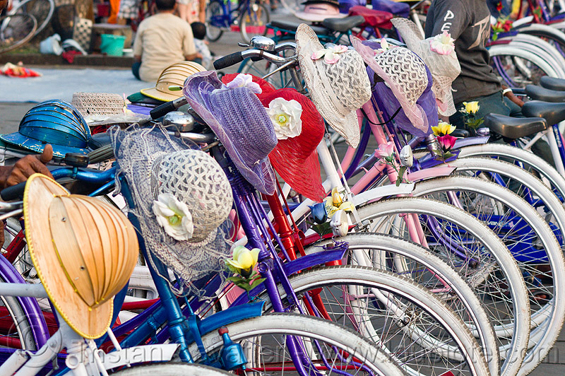 bikes and hats - for rent, bicycle rentals, bicycles, eid, eid ul-fitr, fatahillah square, jakarta, java, people, taman fatahillah