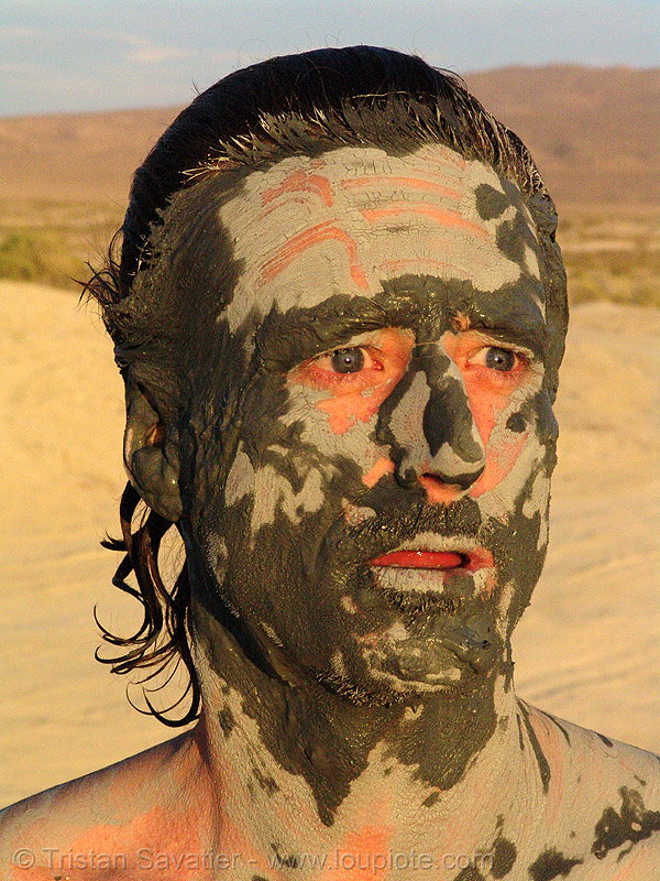 bill weir - mud mask (trego hot springs, black rock desert, nevada), facial, mud bath, muddy, skin care