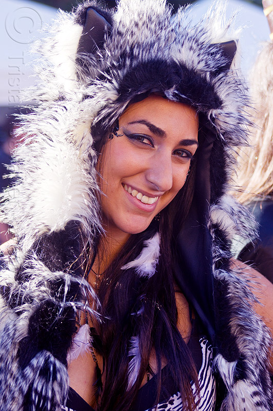 black and white furry fluffy outfit, burning man decompression, woman