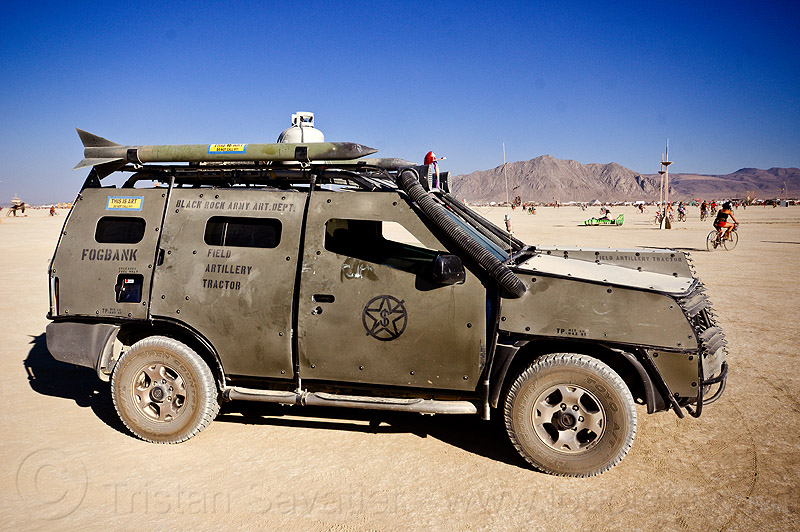 black rock army art dept armored car - burning man 2012, 911, armoured, art car, military, signs, stencil, vehicle
