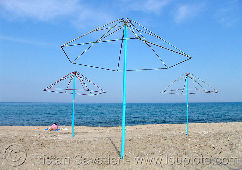 black sea beach - umbrellas, beach sand, beach umbrellas, black sea, blue, empty, horizon, seashore, shore, three, българия