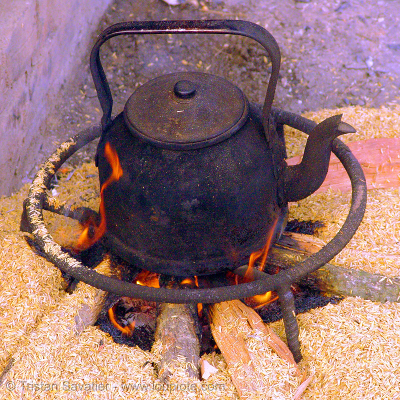 teakettle - tea pot - vietnam, black, burning, bảo lạc, fire, flames, hill tribes, indigenous, kettle, people