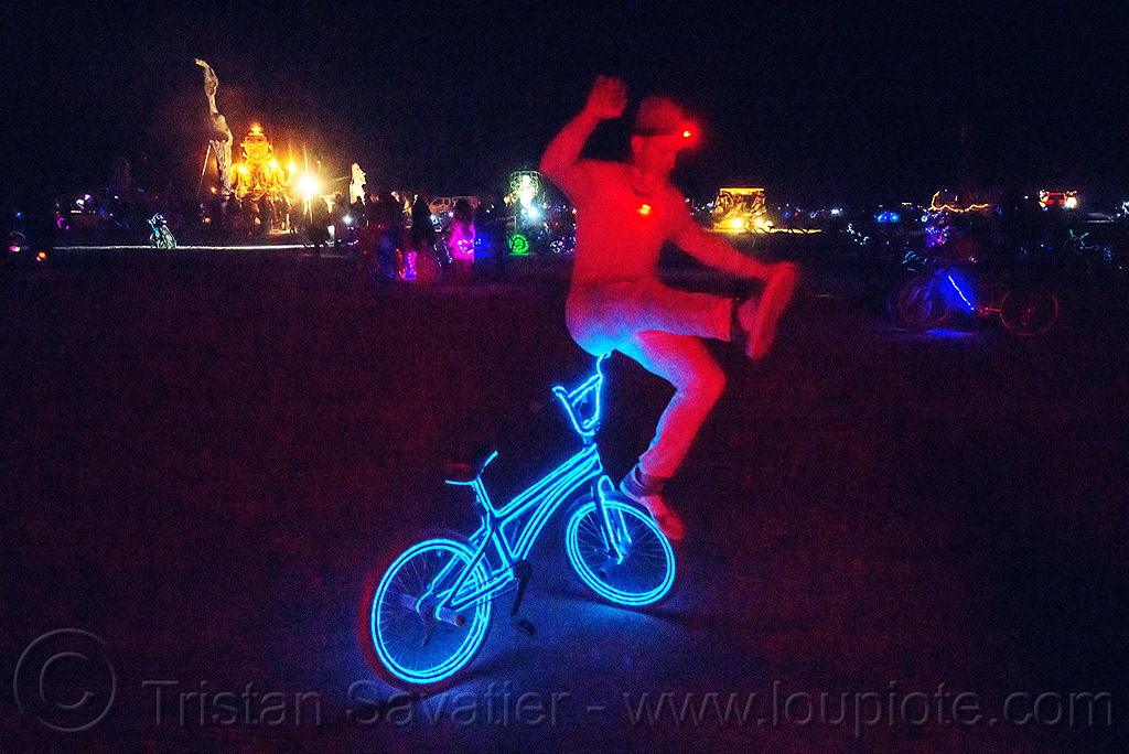 freestyle bike tricks - burning man 2015, acrobatics, balancing, bicycle, bmx, el-wire, flatland, flatland bike, flatland bmx, freestyle bmx, freestyling, glowing, night, people, trick