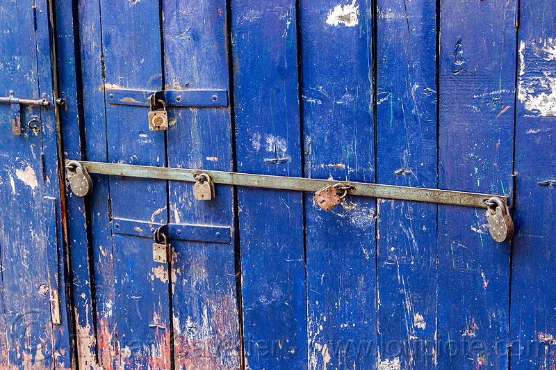blue barred door with many padlocks (india), almora, barred door, blue door, closed, india, locked door, padlocks, paint, painted, wooden