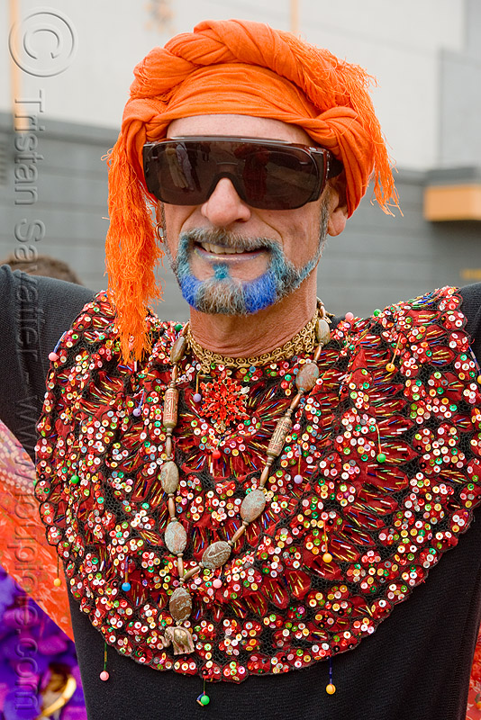 blue beard - burning man decompression 2009 (san francisco), beads, blue beard, burning man decompression, costume, necklace, orange headdress, sunglasses, turban
