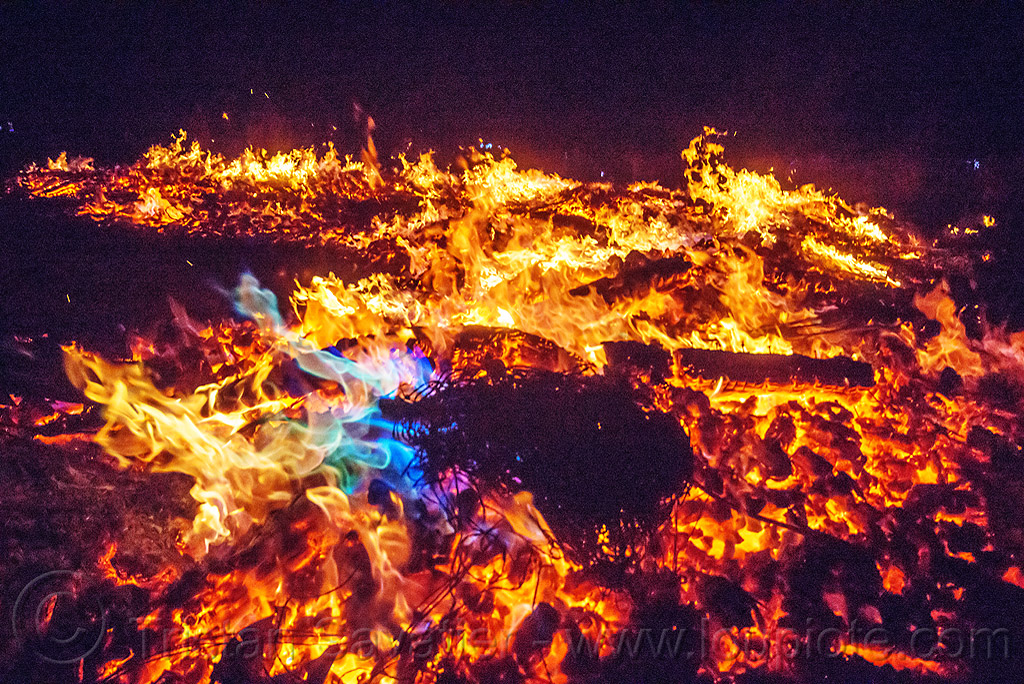 blue flames in the temple fire - burning man 2015, blue flames, burning man, embers, fire, night