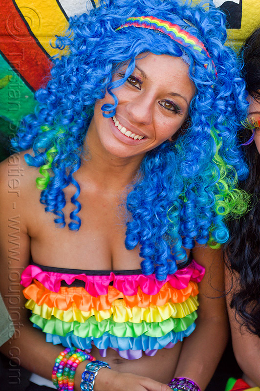 blue wig - rainbow bra, blue wig, gay pride festival, headband:, kandi bracelets, kandi raver, party fashion, rainbow bra, rainbow colors, rainbow tube bra, rave fashion, woman