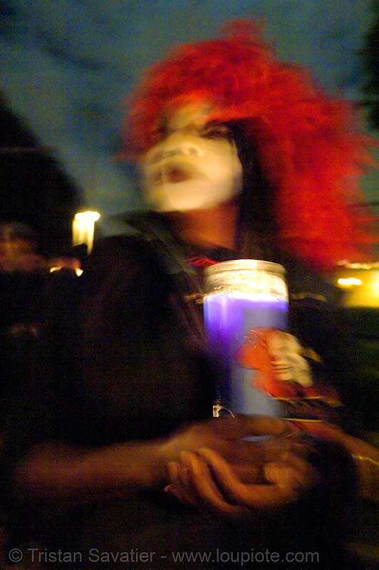 blurred - dia de los muertos - halloween (san francisco), candlelight vigil, costumes, day of the dead, face painting, facepaint, makeup, mission, night, people, the mission