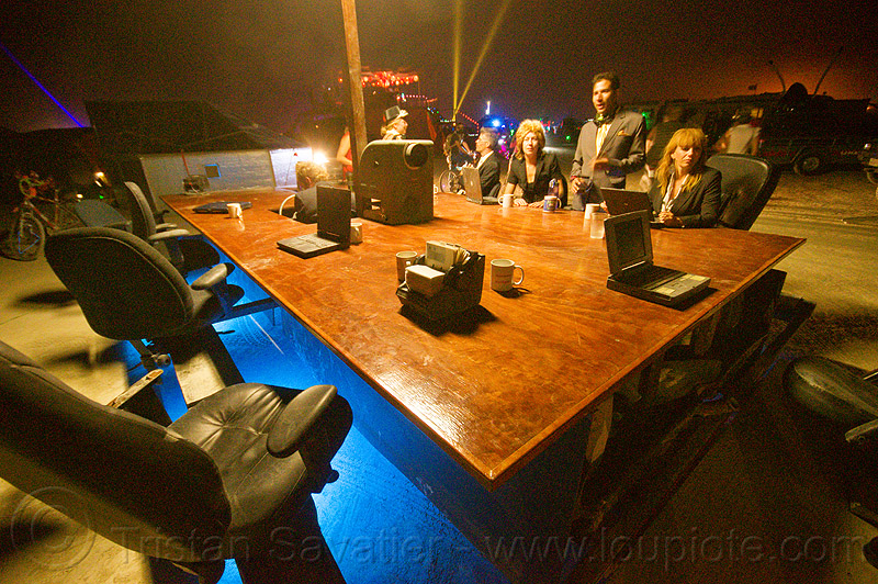 the board room aka driven by profit - burning man 2013, art car, burning man, chairs, conference room, mutant vehicles, night, office, sitting, table