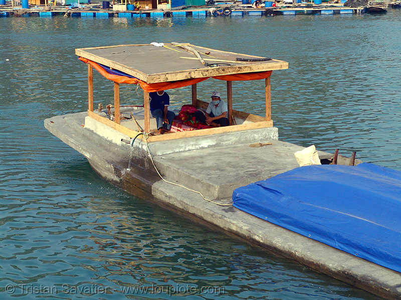 boat made of concrete - vietnam, cat ba, cat ba island, concrete boat, cát bà, halong bay, islands, sea