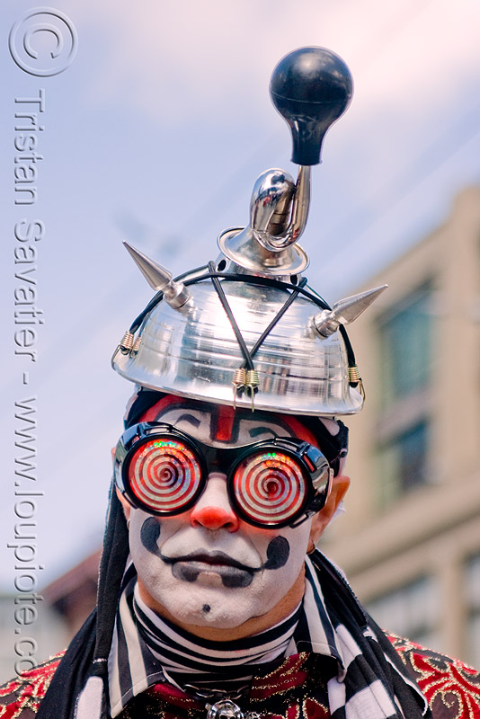 boenobo the klown - gooferman (san francisco), costume, festival, goggles, hat, helmet, horn, how weird festival, man, people, red, spiral, spiral glasses, spiral goggles
