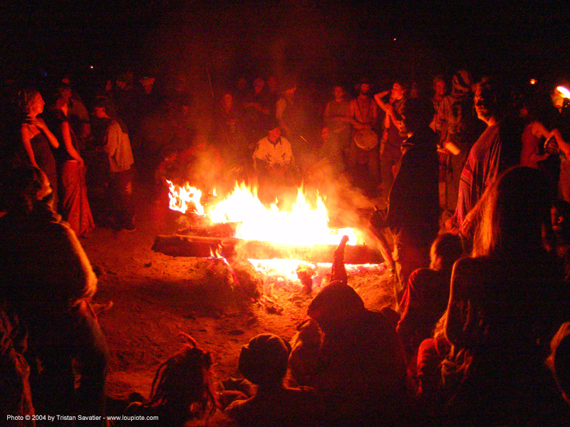 bonfire rainbow gathering - hippie, bonfire, crowd, fire, flames, hippie, night, rainbow family, rainbow gathering