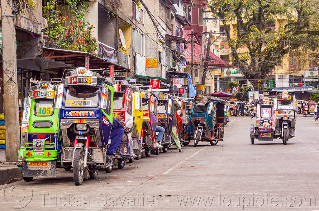 tricycles - bontoc (philippines), bontoc, colorful, motorbikes, motorcycles, motorized tricycle, philippines, public transportation, sidecar, street