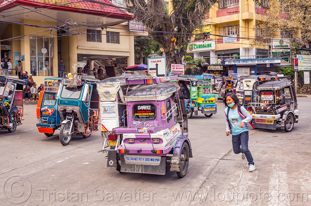 motorized tricycles - bontoc (philippines), bontoc, crossing street, motorbikes, motorcycles, motorized tricycles, pedestrian, philippines, public transportation, running, sidecar, woman