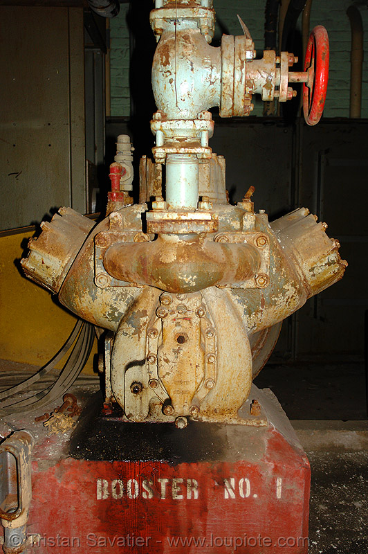 booster pump - abandoned factory (san francisco), booster, compressor, derelict, pipe, pump, tie's warehouse, trespassing, valve
