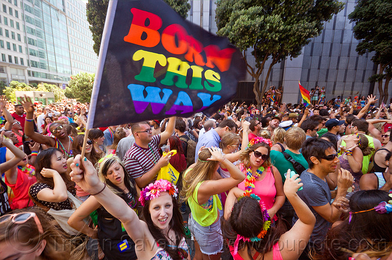 born this way - rainbow flag, crowd, dancing, gay pride festival, rainbow flag, street party