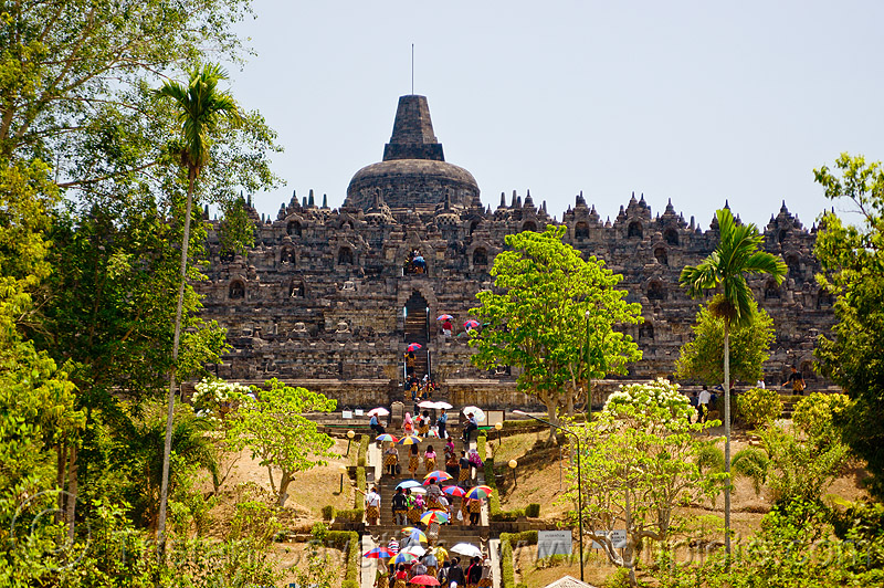 borobudur temple, archaeology, borobudur, buddhism, buddhist temple, crowd, java, jogja, jogjakarta, monument, tourists, trees, umbrellas, yogyakarta