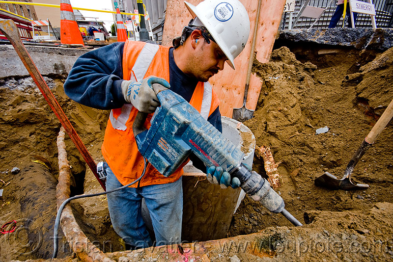 bosch hammer drill - electrical jackhammer - utility worker, bosch hammer drill, construction worker, drainage, electrical jackhammer, heavy-duty, high-visibility jacket, high-visibility vest, power tool, reflective jacket, reflective vest, safety helmet, safety jacket, storm drain, utility worker, working