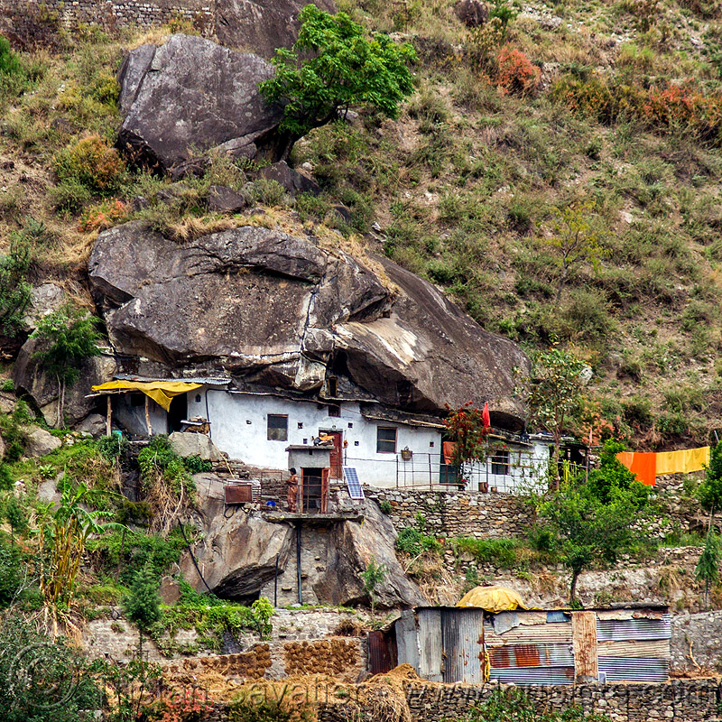 boulder house (india), alaknanda valley, architecture, boulder, grotto, house, mountains, rock