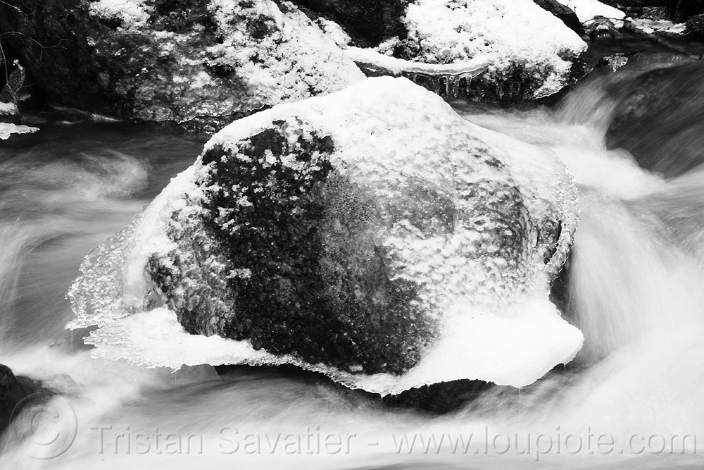 boulder in creek with snow and ice, boulder, creek, flowing, frozen, ice, river, rocks, snow, water, winter, yosemite national park