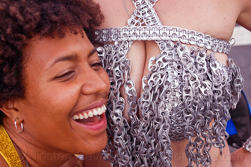 bra made of soda pop-tops, aluminium, bra, can pull tabs, carolina, cleavage, folsom street fair, recycling, soda pop tops, soda pull tabs, women