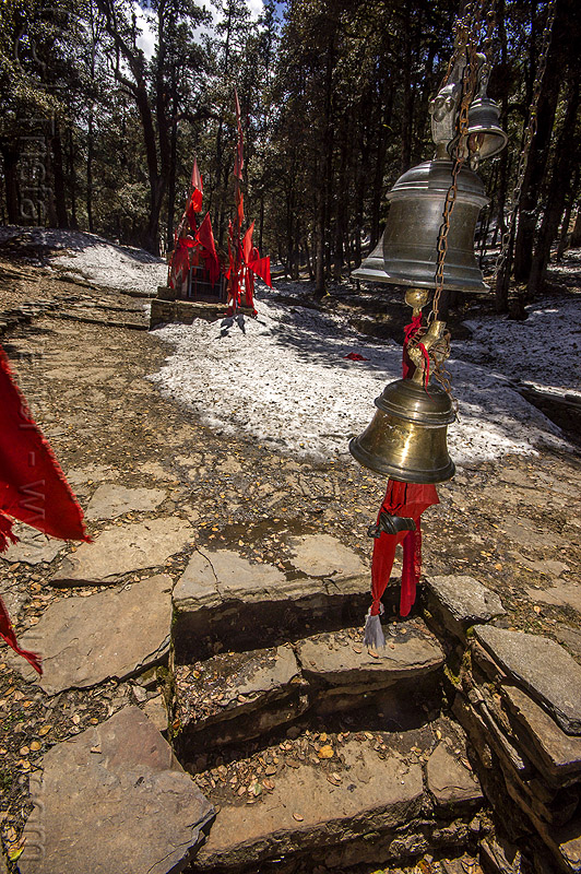 brass bells above hindu shrine steps in forest (india), bells, brass, forest, hinduism, mountains, red flags, shrine, snow