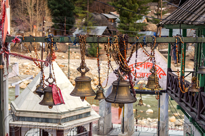 brass bells hanging near hindu temple (india), bells, bhagirathi river, bhagirathi valley, gangotri, hanging, hinduism, temple, water