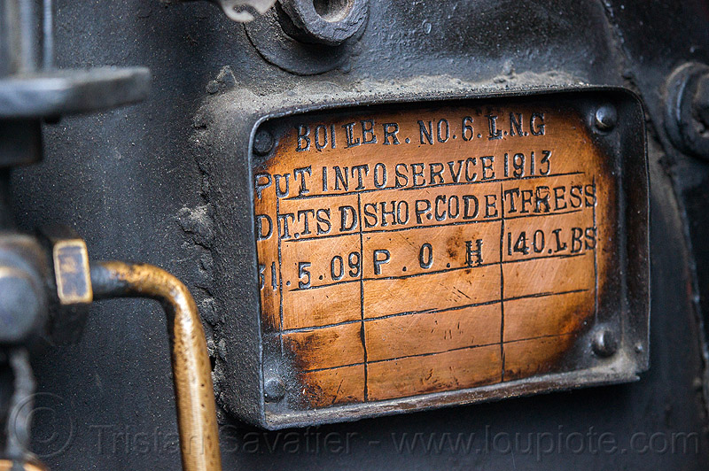 brass plate record in steam locomotive - darjeeling (india), 1913, 788 tusker, brass, darjeeling himalayan railway, darjeeling toy train, india, narrow gauge, plate, railroad, steam engine, steam locomotive, steam train engine