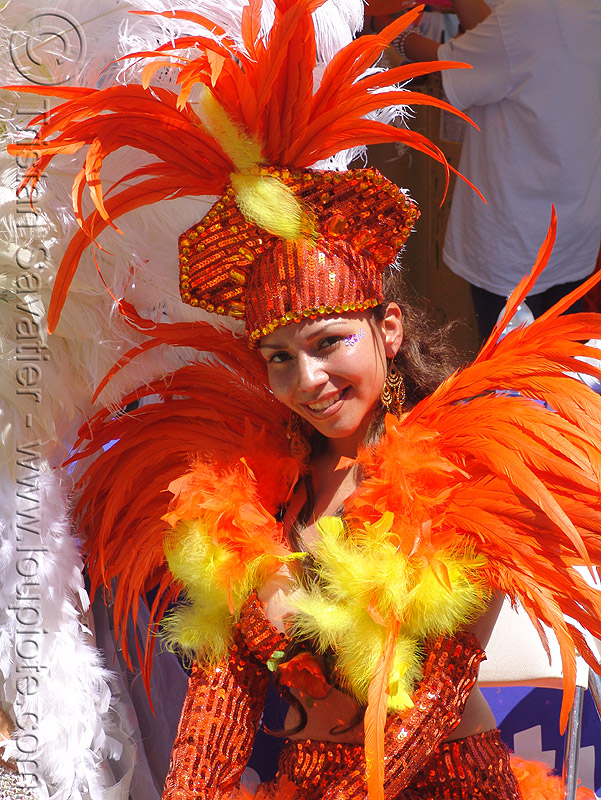 brazil carnival costume - orange feathers, brazilian, carnival costume, feather costume, feather headdress, hat, orange feathers, samba, san francisco carnival, woman