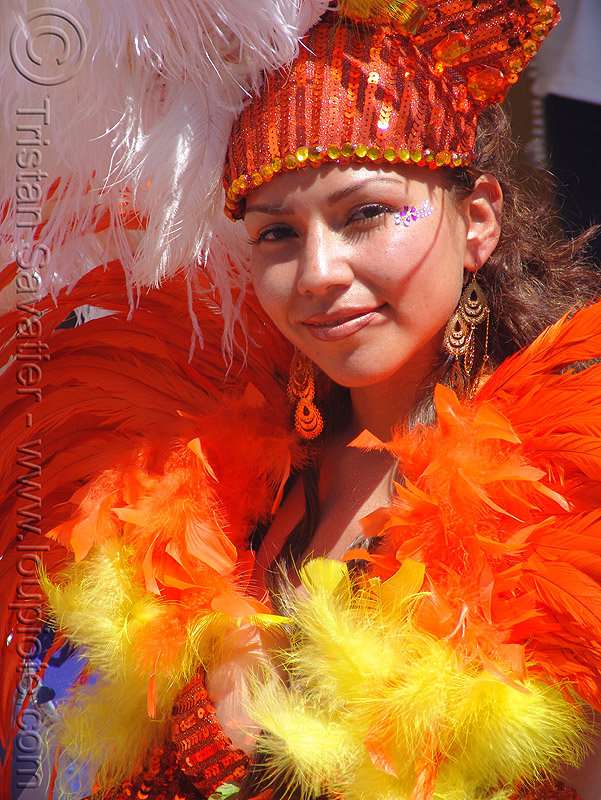 brazil carnival costume - orange feathers - carmen, brazilian, carnaval, people, samba, san francisco carnival, woman