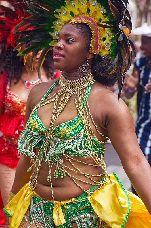 brazilian carnaval costume, carnaval tropical, dancer, dancing, feather headdress, feathers, festival, green, necklace, parade, paris, people, woman, yellow