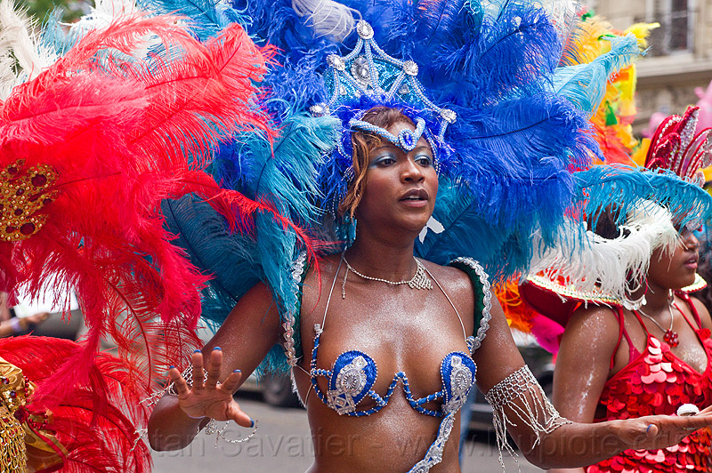 brazilian carnaval costume, blue, brazilian, carnaval tropical, costume, dancing, feather headdress, feathers, parade, paris, red, woman