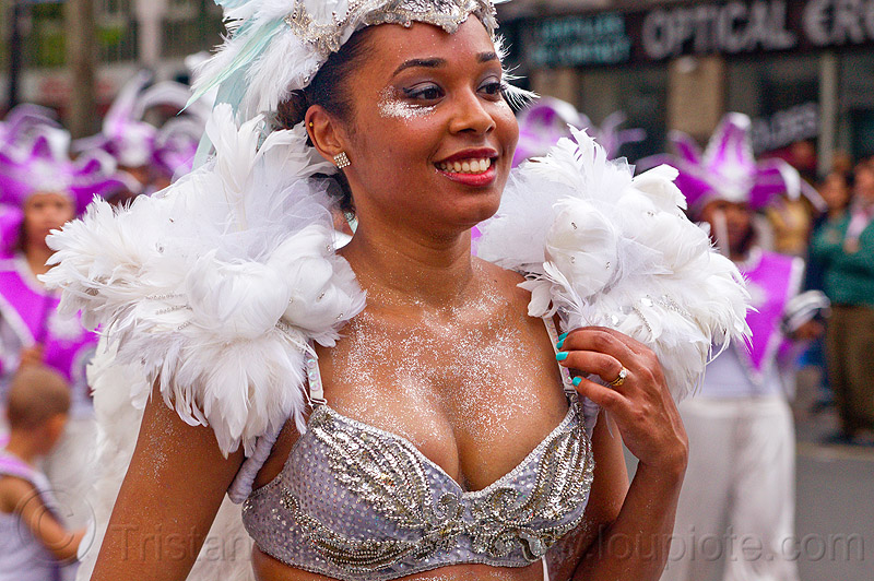 brazilian carnaval costume, carnaval tropical, feathers, festival, parade, paris, people, white, white feathers, woman