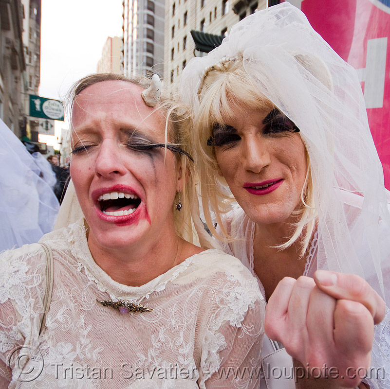 bride crying - brides of march (san francisco), festival, man, people, wedding, white, woman