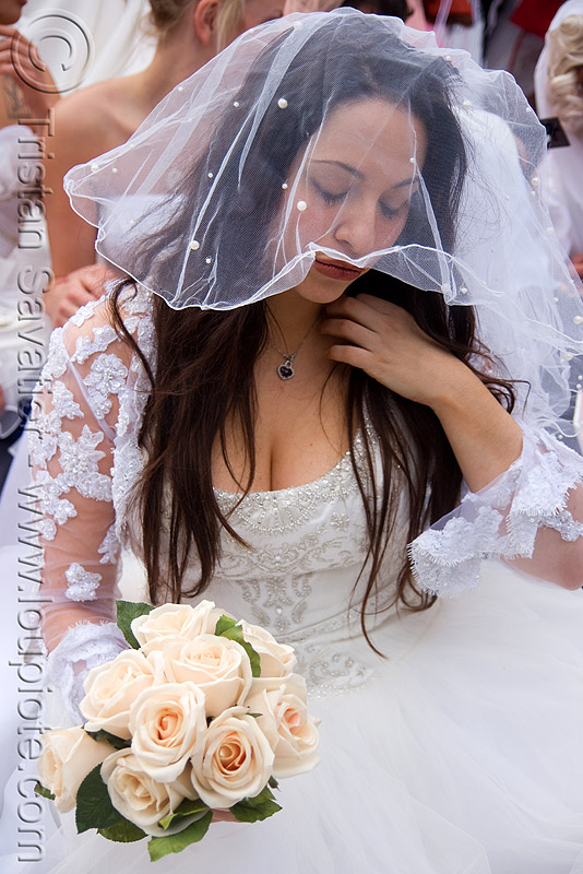 bride having second thoughts - diana furka - brides of march (san francisco), bridal bouquet, brides of march, diana furka, festival, flowers, veil, wedding dress, white roses, woman