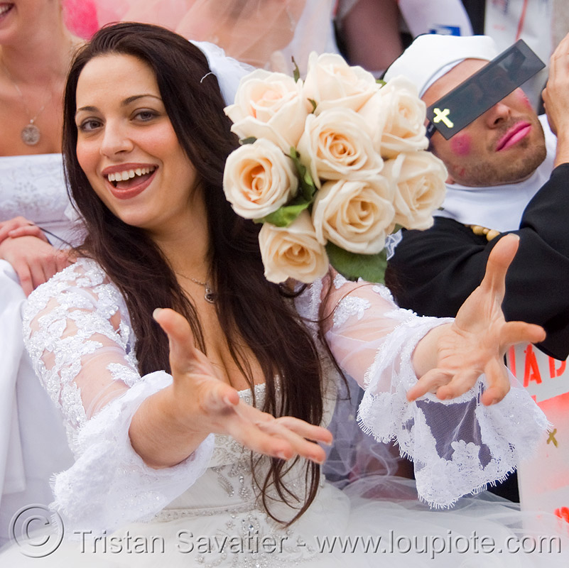 bride tossing bridal bouquet, brides, brides of march, diana furka, festival, flowers, people, wedding, wedding dress, white, white roses, woman