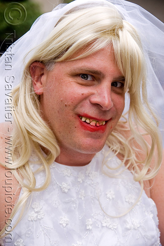 bride with bad teeth - brides of march (san francisco), blonde, decayed, decayed teeth, festival, lipstick, man, people, red lipstick, wedding, white