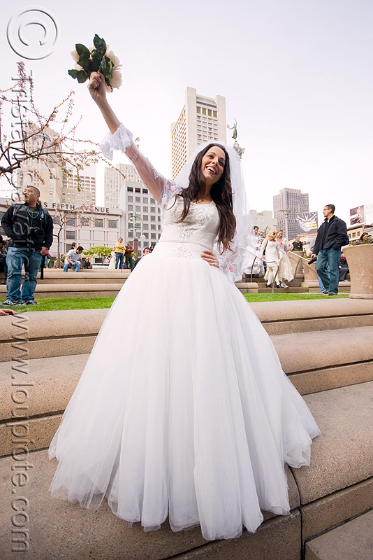 bride with bouquet - diana furka -  brides of march (san francisco), bridal bouquet, bride, brides of march, flowers, wedding dress, white roses, woman