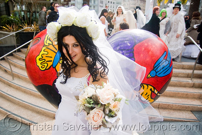 bride with bridal bouquet - brides of march (san francisco), festival, flowers, people, wedding, wedding dress, white, white roses, woman