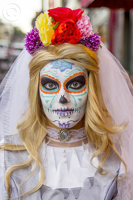 bride with dia de los muertos makeup, blonde, bride, day of the dead, dia de los muertos, face painting, facepaint, flower headdress, flowers, halloween, janelle, neck band, neck jewelry, night, sugar skull makeup, white dress, white veil, woman
