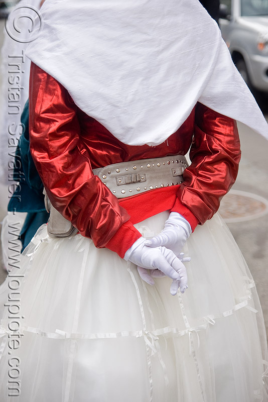 bride with leather belt - brides of march (san francisco), amy, festival, people, wedding, white, white gloves