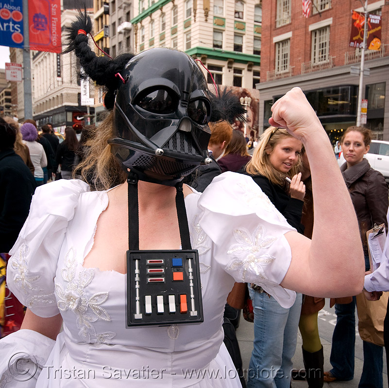brides of march (san francisco), bride, brides of march, darth vader, starwars, wedding dress, white