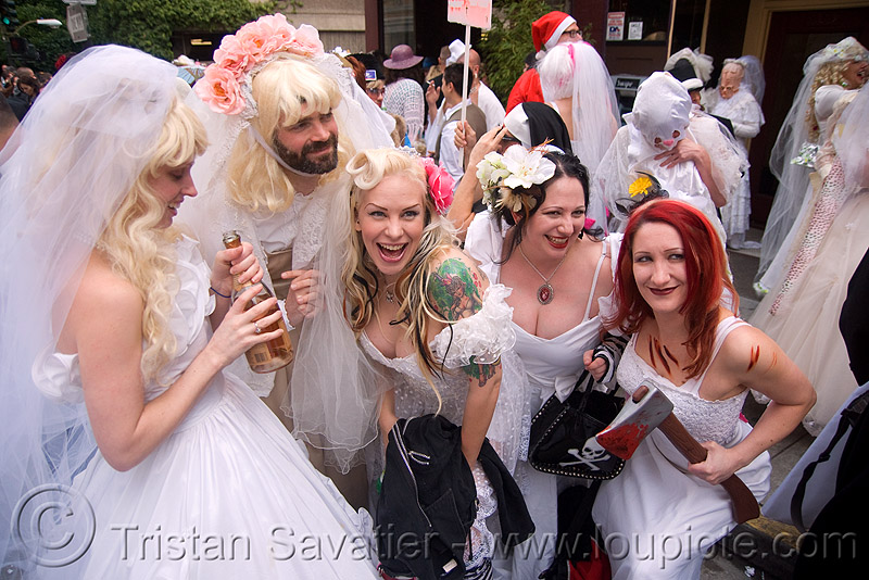 brides of march (san francisco), festival, people, wedding, wedding dress, white, woman