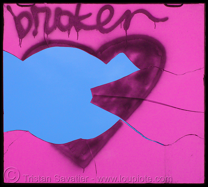broken heart graffiti on broken window, broken heart, graffiti, love, photoshoped, pink, street art, valentine's day, window