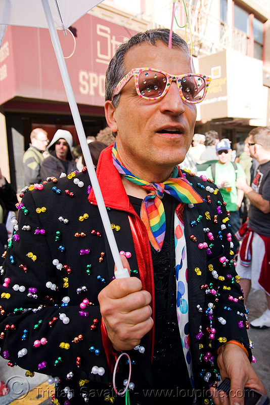 bruce beaudette - how weird street faire (san francisco), beaded coat, beads, bindis, bruce beaudette, eyeglasses, eyewear, glasses, how weird festival, man, rainbow colors, rhinestones, spectacles