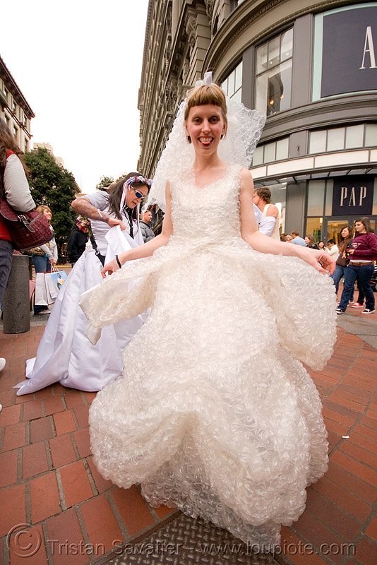bubble-wrap costume - bride - can I pop some of your bubbles? - brides of march (san francisco), brides of march, bubble-wrap, fashion, festival, wedding dress, white