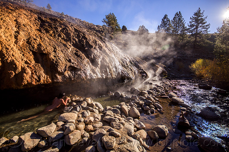 buckeye hot springs (california), bath, bathing, buckeye hot springs, california, concretions, dripping, eastern sierra, naked, nude, pool, rocks, smoke, smoking, steam, stone, water, woman